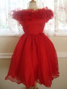 Items similar to Exquisite Coral Bombshell Dress on Etsy Vintage Prom, Prom Dresses, Formal Dresses, Bombshells, 1950s, Coral, Trending Outfits, Unique, Clothes