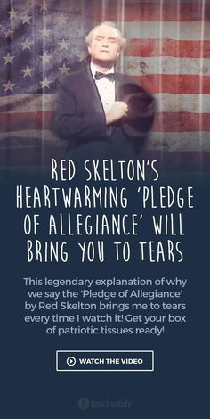 Red Skelton's Heartwarming 'Pledge of Allegiance' will Bring You to Tears. I have watched this many times and I love it! The best description of what the United States and pledge of allegiance means I Love America, God Bless America, Crate Paper, Studio Calico, Great Quotes, Inspirational Quotes, Motivational, Red Skelton, Karma