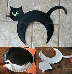 Incredible DIY Paper Plate Crafts Ideas for Kids Kids Crafts halloween crafts for kids/black cats Diy Halloween, Halloween Arts And Crafts, Adornos Halloween, Halloween Crafts For Toddlers, Toddler Crafts, Preschool Crafts, Kids Crafts, Halloween Decorations, Craft Kids