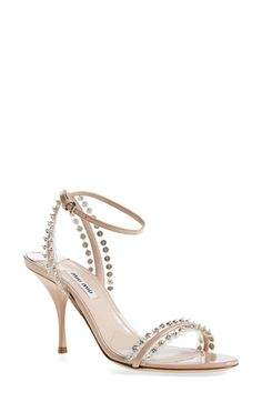 Miu Miu Crystal Ankle Strap Sandal (Women) available at #Nordstrom