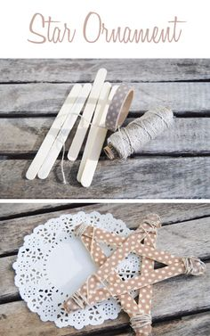Very Easy DIY Star Ornament for the Christmas Tree, using washi tape, craft sticks and baker's twine #DIY #Christmas #Star
