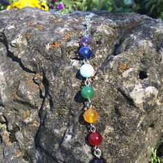 Each of the 7 chakras represent a center of spiritual power in the human body. The chakras represent spirituality, intuition, communication, love, power, sexuality, and survival. These beads are a con
