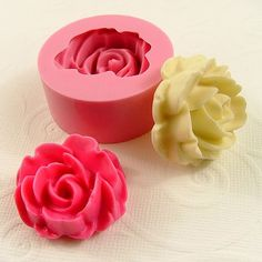 Large Rose Cabochon Flexible Mini Mold/Mould 32mm for by MoldMuse, $6.25
