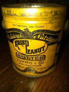 Antique 1 lb. Krisp Peanut butter tin can Suffolk VA