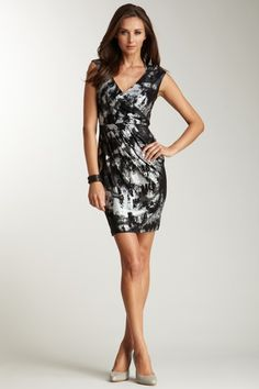 Ellen Tracy Cap Sleeve Printed Jersey Dress