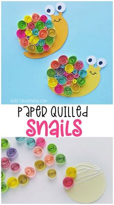 Paper Quilled Snail Craft cute snail kids craft Cute colorful quilled art project Free Printable PDF template of the snail body papercrafts diy craft diycraft - Summer Crafts, Diy Crafts For Kids, Projects For Kids, Craft Kids, Kids Diy, Diy Projects, Beach Crafts, Diy Crafts With Paper, Color Paper Crafts