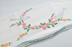 Sweet Vintage Embroidered Pillowcase