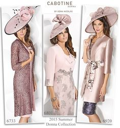 Cabotine 2015 summer Mother of the Bride outfits in soft pastel pink. Dress and matching lace coat, shift dresses with waist sash and dress and bolero sets.