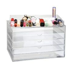 Co-z clear acrylic makeup cosmetics organizer jewelry display 5 drawers multipurpose box features: elegant and compact. Keeps your dresser look neat and stylish.made of durable clear acrylicideal for organizing and displaying your makeup, jewelry and small crafts.the see-through containers make it easy to find any specific item you need.includes 5 drawers. Each drawer is 1 deep. Description size:larger size - 5 tier drawer sleek and compact, this acrylic makeuporganizer fits perfectly on a…