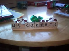 Christmas Gift Idea ~ Scrabble© Name Ornament. Great for the office or secret Santa gifts. For my mom, soon-to-be teacher!