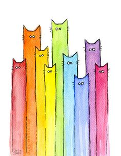 Rainbow Cat Rainbow Art Cat Art Rainbow of Cats Colorful Cat Rainbow Print Whimsical Animals Watercolor Painting Giclee Art Print Watercolor Cat, Watercolor Pattern, Watercolor Animals, Ciel Art, Cat Art Print, Colorful Wall Art, Colorful Paintings, Rainbow Print, Canvas Prints