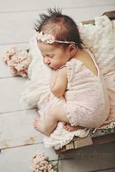 Sleeping Baby Girl in pink