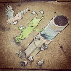 Sidewalk Art by David Zinn Amazing Street Art, 3d Street Art, Street Art Graffiti, Street Artists, Graffiti Artists, Amazing Art, Chalk Artist, Artist Art, Pablo Picasso