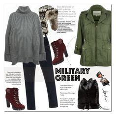"""""""Attention! Go Army Green"""" by aurora-australis ❤ liked on Polyvore featuring River Island and Nine West"""