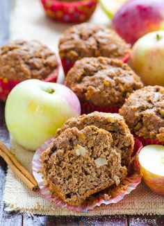 Whole Wheat Apple Spice Muffins Recipe -- Healthy muffins with Cinnamon Sugar topping. You will love how fluffy and simple these are.