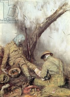 Dressing wounds during a World War I gas attack (oil on canvas)