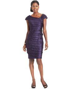 London Times Dress, Cap-Sleeve Tiered Sheath