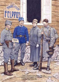 IMPERO AUSTRO-UNGARICO - 1 Feldpost Oberoffizier, Polonia,1918 - 2 Fante…