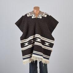 1970s Boho Poncho, Ethnic Serape. Hippie Coat, Blanket Coat. Mens style, mens fashion, vintage menswear, vintage mens style, vintage fashion