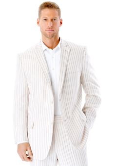 Big and Tall Linen Blend Two-Button Suit Jacket