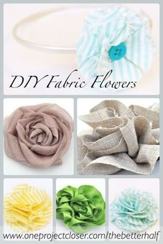 Detailed tutorial on how to make several different kinds of fabric flowers, all in one post.