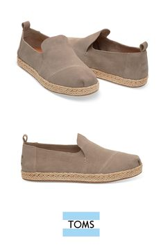 Desert Taupe Suede Women's Deconstructed Alpargata from TOMS with a rope sole that adds a relaxed detail to the contemporary style.