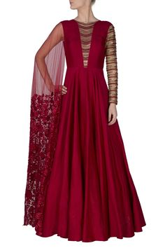 Maroon raw silk one shoulder suit embroidered neckline anarkali suit with 1 side sleeve and attached dupatta available only at Ridhimabhasin.com