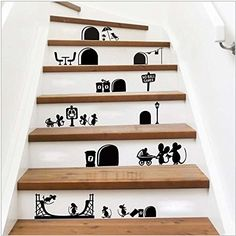 2016 New Cartoon Mouse Stair Steps Sticker Removable Wall Sticker Home Decor Deroration Wallpaper