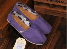 Toms Kids Shoes Purple Canvas Tiny Classics