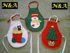 N&A artesanatos: Avental de Garrafa em Feltro - Natal