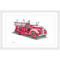 'Vintage Fire Truck' Framed Painting Print
