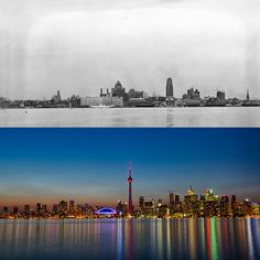 Skylines Of The World: Then Vs Now: Toronto, Canada. Then Vs Now, Before After Photo, World Cities, World Photo, Famous Places, Panama City Panama, Vacation Spots, Time Travel, Wonderful Places
