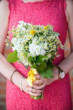 Simple and sweet bouquet by Michelle Edgemont - http://michelleedgemont.com. Photography: Sara Wight Photography - sarawightphotography.com  Read More: http://www.stylemepretty.com/tri-state-weddings/2014/04/09/colorful-brooklyn-wedding-at-the-liberty-warehouse/