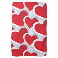 2 Red Hearts Repeating Pattern Cute Hand Towel - valentines day gifts gift idea diy customize special couple love