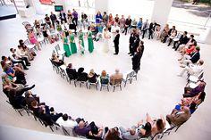 So apparently my quirky genius brainstorm of a spiral aisle is something that's occurred to many couples, because here is yet another spiral seating arrangement photo. I like this one because it's indoors, and it appears to seat about 80. Yes, I counted.