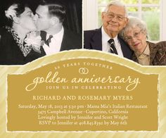 Unforgettable 50th anniversary toast samples wine pinterest golden gala studio basics party invitations in gilded stopboris Choice Image