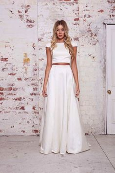 Wedding Dress // Crop Top // Two piece dress from Karen Willis Holmes' Wild Heart Collection Karen Willis Holmes, 2 Piece Wedding Dress, Wedding Dress Trends, Wedding Gowns, Wedding Shoes, Wedding Reception, Lace Wedding, Bridal Dresses, Bridesmaid Dresses