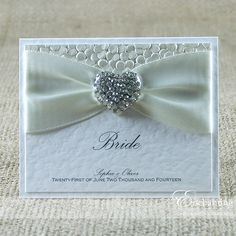 The Ariel Collection - Luxury Place Card | Available in any colour | Luxury handmade wedding invitations and stationery by Enchanting | pebble paper | crystal diamanté heart | ivory white cream