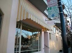 Ask about scalloped / sloped / interesting awning Yellow Stripes, Colorful Flowers, Windows, Studio, Outdoor Decor, House, Home Decor, Decoration Home, Home