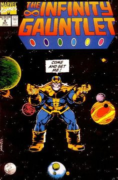 """""""Come and Get Me!""""    Thanos takes on and defeats all of Marvel's heroes to impress his girlfriend death. #gangster    Infinity Gauntlet #4"""