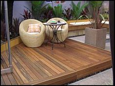 timber decking would be nice to have a slightly raised deck