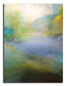 smultronstalle, a special place discovered, treasured, returned to for solace and relaxation. Inspired by a secret beach my daughter and I kayak to every summer. 30 x 40 inches, oil on canvas abstract painting by Sharon Kingston