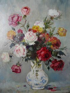 Antiques Atlas - Lovely Still Life Floral Oil Painting Rose Paintings, Flower Vases, Flowers, Still Life Art, Roses, Victorian, Oil, Antiques, Floral