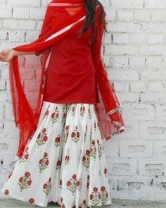 Something in cotton and for daily wear. **Marsala Block Print Sharara Set – Alaya The Storehouse** Pakistani Dresses Casual, Indian Fashion Dresses, Dress Indian Style, Pakistani Dress Design, Indian Designer Outfits, Indian Outfits, Fashion Outfits, Ethnic Fashion, Sharara Designs