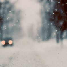 Abstract Landscape Photography -Winter Drive 5x5 Photograph - Modern winter painterly wall decor snow storm