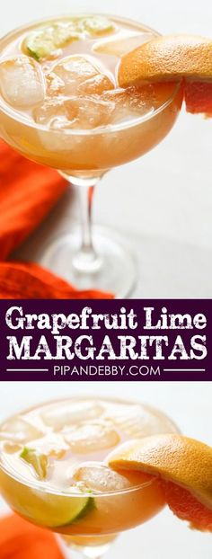 Grapefruit Lime Margaritas | Replace sweet and sour mix with fresh and delicious citrus fruit! This margarita is DELICIOUS!