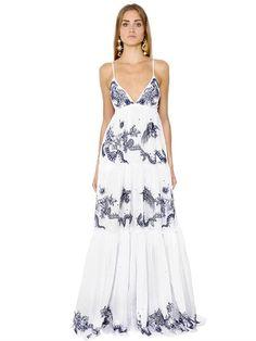 ROBERTO CAVALLI Embroidered Cotton Voile Dress, White/Blue. #robertocavalli #cloth #dresses