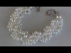 Beaded Bracelet for beginners. Seed beads_ Pearls.Bead weaving
