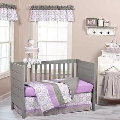 Modern Geometric Lavender & Gray Baby Girls Nursery 3 Pc Baby Crib Bedding Set