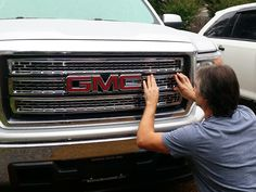 Edward installing his new chrome snap-on grille. 2015 GMC Sierra 1500.